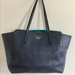 Authentic GUCCI large navy leather tote